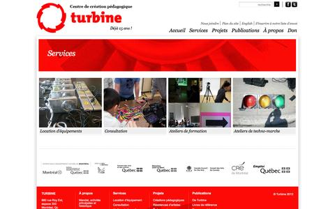 Screenshot of Services Page centreturbine.org - Services | Turbine - captured Sept. 29, 2014