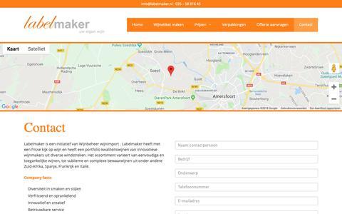 Screenshot of Contact Page labelmaker.nl - Contact · LabelMaker · Wijn met eigen etiket - captured Sept. 26, 2018