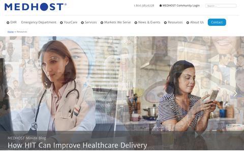 Screenshot of Case Studies Page medhost.com - MEDHOST Resources | Format: Case Study - captured Sept. 17, 2019