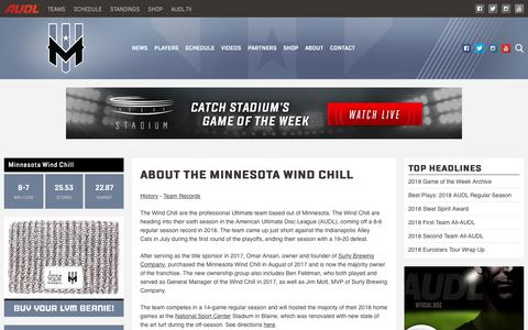 Screenshot of About Page theaudl.com - About the Minnesota Wind Chill | AUDL - captured Oct. 21, 2018