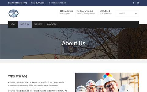 Screenshot of About Page schainmold.com - About Us | Schain Mold & Engineering - captured Nov. 12, 2018