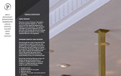 Screenshot of Terms Page kensingtonpavilion.com - Terms & Conditions - Pavilion - captured Sept. 25, 2014