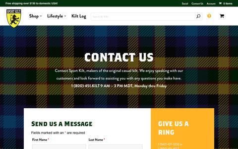 Screenshot of Contact Page sportkilt.com - Contact Us | Sport Kilt - captured Oct. 8, 2019