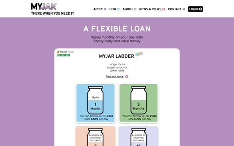 Screenshot of Home Page myjar.com - Short Term Loans of £100 to £1000 | MYJAR Official site | Direct Lender - captured Aug. 2, 2015