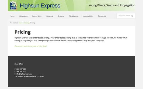 Screenshot of Pricing Page highsun.com.au - Highsun Express - Pricing - captured Oct. 2, 2014