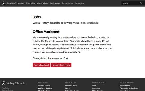 Screenshot of Jobs Page valleychurch.eu - Jobs - Valley Church - captured Nov. 30, 2016