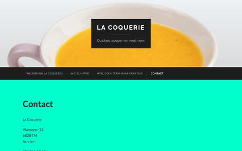 Screenshot of Contact Page lacoquerie.nl - Contact – La Coquerie - captured Dec. 13, 2018