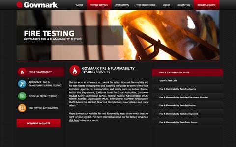 Screenshot of Services Page govmark.com - Flammability Testing and Fire Testing, Flammability Testers - Govmark Fire Laboratories - captured Sept. 30, 2014