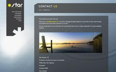 Screenshot of Contact Page starkayaks.com - Contact us | Star Kayaks - captured Jan. 12, 2016