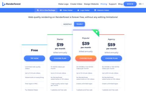Screenshot of Pricing Page renderforest.com - Subscription Plans Pricing | Renderforest - captured Nov. 17, 2018