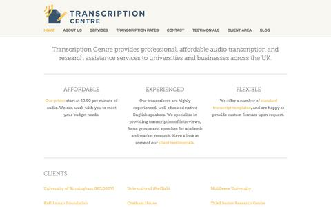 Screenshot of Home Page transcriptioncentre.co.uk - Transcription Centre - captured Oct. 1, 2014