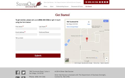 Screenshot of Contact Page silveroakescrow.com - Get Started | Silver Oak Escrow - captured Oct. 26, 2014