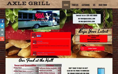 Screenshot of Home Page axlegrill.com - Corporate and Wedding Catering Food Truck in St. Cloud, Brainerd, Little Falls Area   Axle Grill - captured Sept. 30, 2014
