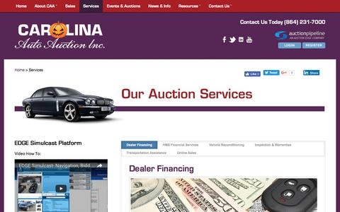 Screenshot of Services Page carolinaautoauction.com - Carolina Auto Auction :: Services - captured Oct. 25, 2016