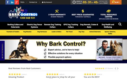 Screenshot of Home Page barkcontrol.com.au - Australia's Best  Electronic Dog Training Collars - captured Oct. 5, 2018