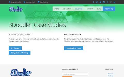 Screenshot of Case Studies Page the3doodler.com - Case Studies | 3Doodler EDU - captured Jan. 14, 2016