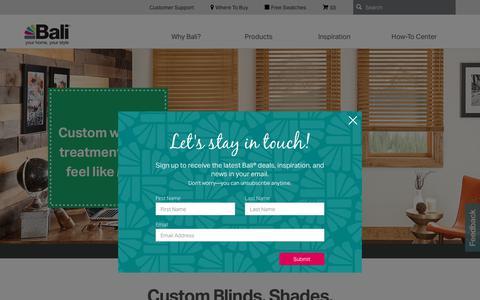 Screenshot of Home Page baliblinds.com - Custom Window Treatments | Bali Blinds and Shades - captured Aug. 1, 2018