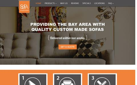 Screenshot of Home Page mysofacreation.com - Sofa Creations | Affordable Custom Sofas in San Francisco - captured Jan. 17, 2016