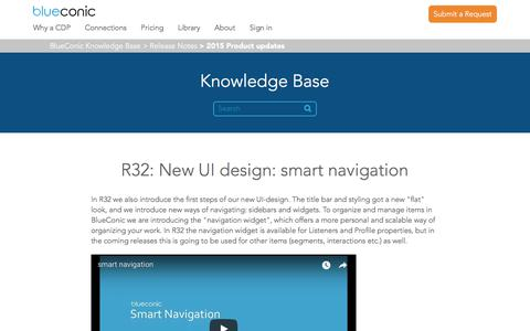 Screenshot of Support Page blueconic.com - R32: New UI design: smart navigation – BlueConic Knowledge Base - captured May 2, 2018
