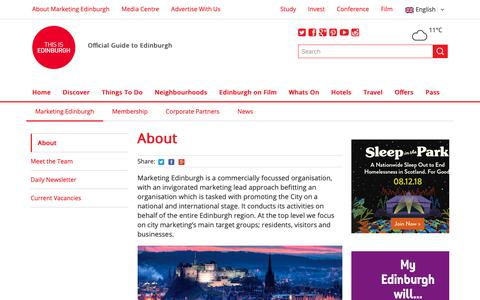 Screenshot of About Page edinburgh.org - About Marketing Edinburgh - This is Edinburgh - captured Oct. 17, 2018