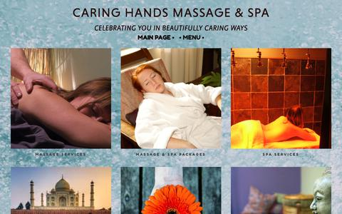 Screenshot of Menu Page creatingreality.com - • MENU • —          CARING HANDS MASSAGE & SPA - captured Sept. 27, 2018