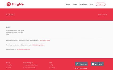 Screenshot of Contact Page tringme.com - Contact Us   TringMe - captured Dec. 17, 2016