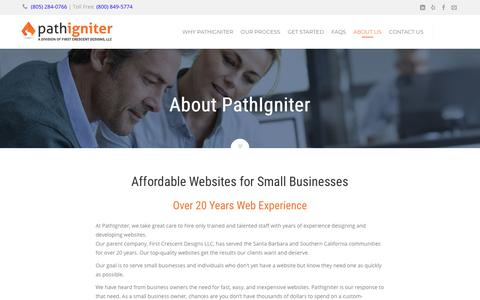 Screenshot of About Page pathigniter.com - Our Affordable Small Business Website Team - captured Feb. 4, 2018