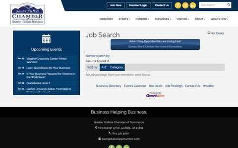 Screenshot of Jobs Page duboispachamber.com - Job Search - Greater DuBois Chamber of Commerce, PA - captured Dec. 16, 2018