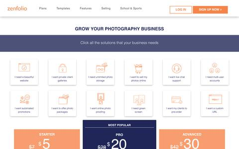 Screenshot of Signup Page Pricing Page zenfolio.com - Pricing Plans for Zenfolio.com Photography Websites - captured Sept. 20, 2018