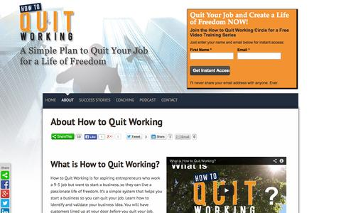 Screenshot of About Page howtoquitworking.com - Quit Your Job and Start a Business - captured Sept. 19, 2014