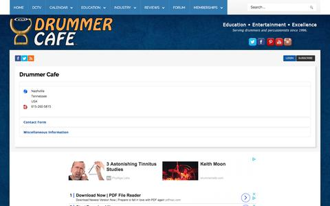 Screenshot of Contact Page drummercafe.com - Drummer Cafe - Contact Us - Drummer Cafe - captured July 12, 2019
