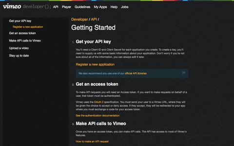 Screenshot of Developers Page vimeo.com - API on Vimeo on Vimeo Developer API - captured April 10, 2017