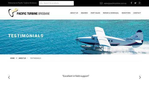 Screenshot of Testimonials Page pacificturbine.com.au - Testimonials - Pacific Turbine Brisbane - captured July 12, 2017