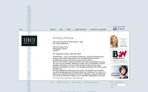 Screenshot of Privacy Page donato.ca - Privacy Notice : Donato salon + spa! - captured Oct. 5, 2014