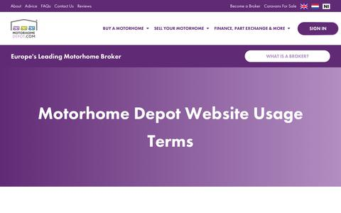 Screenshot of Terms Page motorhomedepot.com - Motorhome Depot Website Usage Terms - captured Oct. 20, 2018