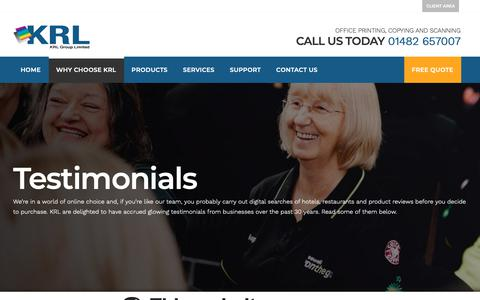 Screenshot of Testimonials Page krlgroup.net - Testimonials - KRL Group Limited Hull, Yorkshire and Lincolnshire - captured Oct. 14, 2018