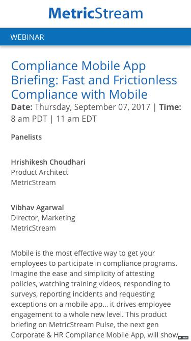 Compliance Mobile App Briefing: Fast and Frictionless Compliance with Mobile - Webinar