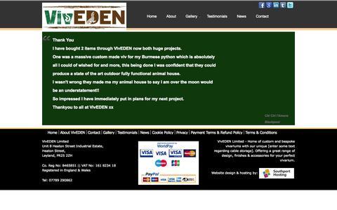 Screenshot of Testimonials Page viveden.co.uk - Testimonials - captured Oct. 9, 2014