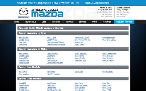 Screenshot of Site Map Page avmazdas.com - Inventory Sitemap - Antelope Valley Mazda - captured Jan. 7, 2017