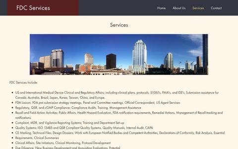Screenshot of Services Page fdcservices.com - Services - FDC Services - captured Oct. 10, 2018