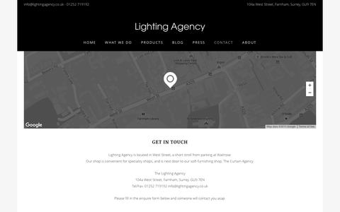 Screenshot of Contact Page lightingagency.co.uk - Contact - Lighting Agency - captured Dec. 9, 2015