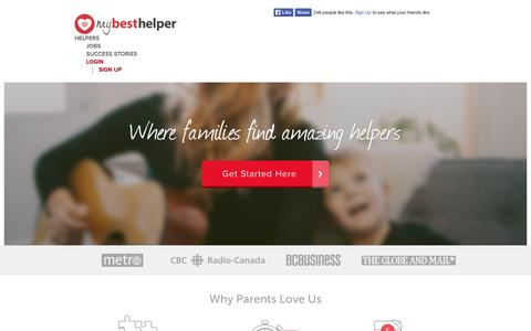 Screenshot of Home Page mybesthelper.com - Babysitter, Nanny - childcare jobs and more ❤ MyBestHelper.com! - captured Sept. 10, 2014
