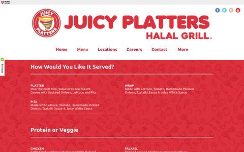 Screenshot of Menu Page juicyplatters.com - Juicy Platters Halal Grill - captured June 8, 2017