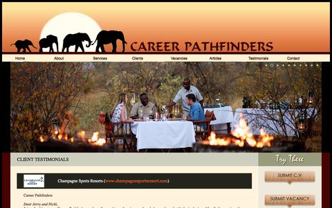Screenshot of Testimonials Page careerpathfinders.co.za - Testimonials for Career Pathfinders Services | Clients Testimonials & References | Career Pathfinders Services | Career Pathfinders Recruitment Agency - captured Sept. 29, 2014