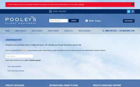 Screenshot of Login Page pooleys.com - Login | Pooleys Flying and Navigational Products and Accessories - captured Nov. 8, 2016