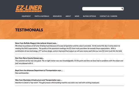 Screenshot of Testimonials Page ezliner.com - Testimonials – EZ-Liner - captured July 12, 2017