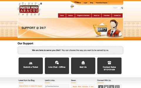 Screenshot of Support Page mastermindabacus.com - Mastermind Abacus Support - captured Oct. 27, 2014