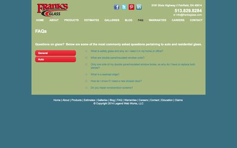 Screenshot of FAQ Page franksglass.com - Commercial Glass-Residential Glass-General Questions-Frank's Glass - captured Sept. 30, 2014