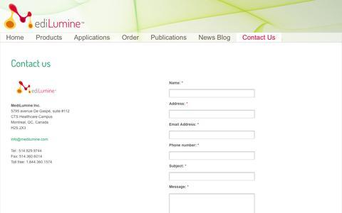 Screenshot of Contact Page medilumine.com - Contact us | MediLumine - captured Oct. 27, 2014