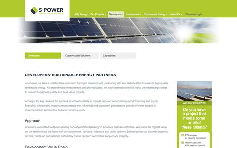 Screenshot of Developers Page spower.com - sPower - Sustainable Power Group - captured Nov. 4, 2014